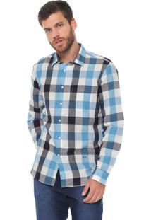Camisa Linho Richards Reta Xadrez Branca/Azul