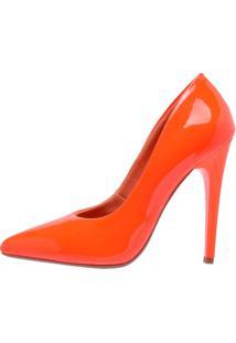 Sandália Scarpin Magi Shoes Salto Alto Laranja