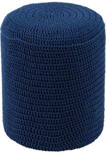 Puff Round Crochê Azul Royal