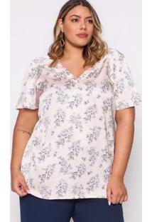 Blusa Almaria Plus Size Pianeta Estampada Off White