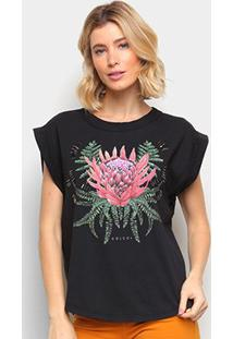 Camiseta Colcci Estampada Bordado Manual Feminina - Feminino-Preto
