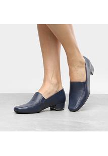 Scarpin Couro Usaflex Salto Baixo Detalhe Metal - Feminino-Azul