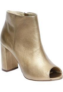 Ankle Boot Em Couro - Dourada - Salto: 9Cmcapodarte