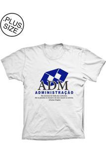 Camiseta Lu Geek Plus Size Administração Branco