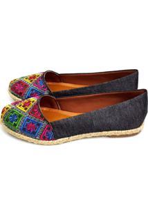 Alpargata Love Shoes Bico Redondo Com Bordados Jeans Preto
