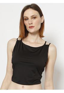 Blusa Cropped Lisa - Preta- Lança Perfumelança Perfume
