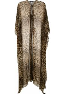 Dolce & Gabbana Túnica De Seda Leopardo - Marrom