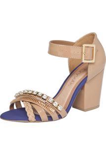 Sandália Crysalis Trento Nude/Dourado/Azul