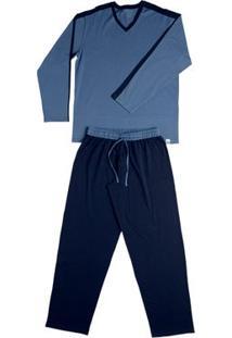Conj. Pijama Cotton Manga Longa Azul Marinho G