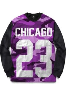 Blusa Bsc Chicago 23 Purple Camo Full Print - Masculino