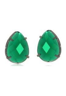 Brinco Le Diamond Gota Em Resina - Feminino-Verde