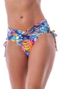 Calcinha Summer Soul Cã³S Alto Com Franzido E Amarraã§Ã£O Tropical Colors - Azul - Feminino - Poliamida - Dafiti