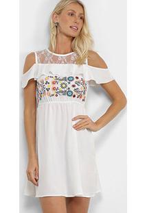 Vestido Angel City Bordado Open Shoulder - Feminino-Branco