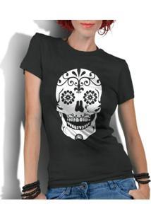 Camiseta Criativa Urbana Caveira Mexicana Flores - Feminino-Preto