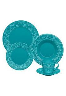 Aparelho De Jantar Oxford 30 Peças Serena Azul Turquesa