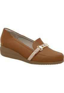 Loafer Anabela Com Aviamentos- Marrom Claro & Dourado