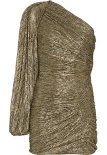 Peter Pilotto Vestido Ombro Único Com Franzido - Dourado