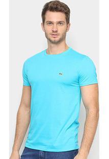 Camiseta Lacoste Básica Jersey Masculina - Masculino-Azul+Azul Claro