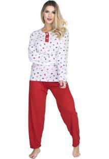 Pijama Longo Bravaa Modas Blusa Botões 017 Vermelho