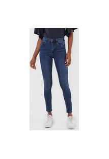 Calça Jeans Vero Moda Skinny Estonada Azul