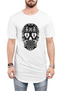 Camiseta Criativa Urbana Long Line Oversized Caveira Mexicana Cartas - Masculino-Branco