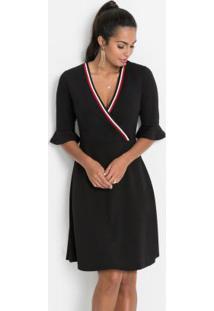 Vestido Transpassado Com Retilínea Preto