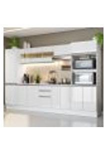 Cozinha Completa 100% Mdf Madesa Smart 300 Cm Modulada Com Armário, Balcão E Tampo - Frentes Branco Brilho