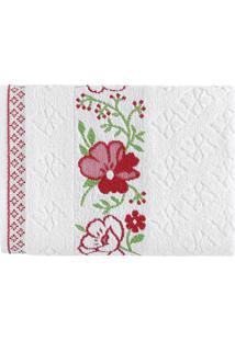 Toalha De Banho Yuna- Branca & Vermelha- 70X135Cm