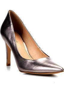 Scarpin Couro Shoestock Salto Alto Metalizado - Feminino-Chumbo