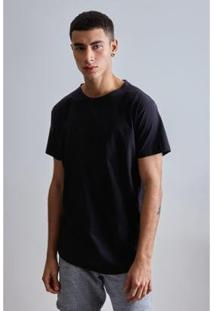 Camiseta Long Fraldada Capim Reserva Masculina - Masculino-Preto