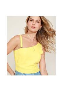 Blusa Feminina Cropped Um Ombro Só Com Alça Removível Amarela