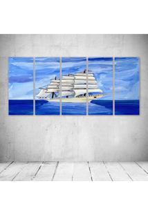 Quadro Decorativo - Barco Ocean Blue (2) - Composto De 5 Quadros