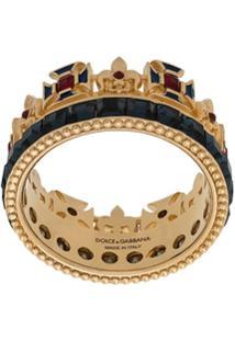 Dolce & Gabbana Crystal Crown Ring - Dourado