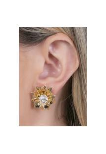 Brinco Pequeno Dourado Com Pedra Cristal Varoni