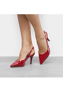 Scarpin Drezzup Chanel Salto Alto - Feminino-Vermelho
