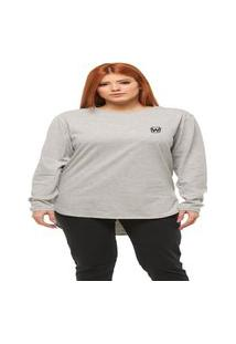 Camiseta Longline Feminina Oversized Manga Comprida Wooks C2-Cinza Claro