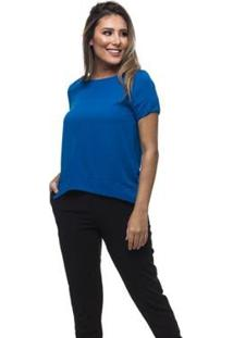 Camiseta Clara Arruda Basic Feminina - Feminino-Azul