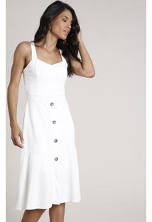 Vestido Feminino Midi Com Recorte E Botões Alça Média Off White