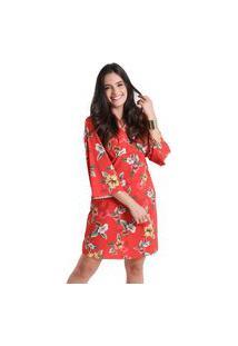 Vestido Decote V Flora - Vermelho - Líquido