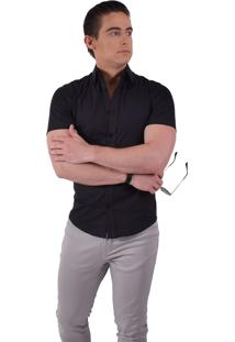 Camisa Social Manga Curta Horus Slim Preta 500203