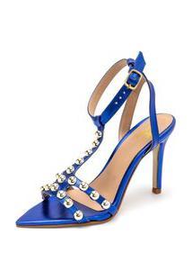Sandália Feminina Salto Alto Bico Fino Confort Napa Azul