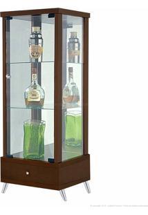 Cristaleira 1 Porta De Vidro Com Espelho E Pés Palito Onix 100% Mdf 1 Gaveta Nogueira - Móveis Forini