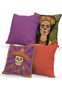 Kit 4 Capas De Almofadas Decorativas Own Caveira Mexicana Mulher 45X45 - Somente Capa