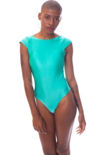 Body Moda Vicio Manga Curta Decote Costas Com Bojo Verde Claro