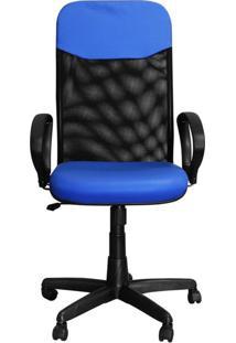 Cadeira Pethiflex Pp-04Gtbp Giratória Couro Azul