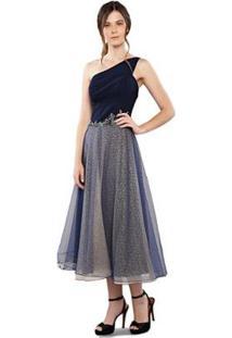 Vestido Maxi Izadora Lima Brand Midi Em Tule Sobreposto Em Lurex Feminino - Feminino-Azul+Marinho