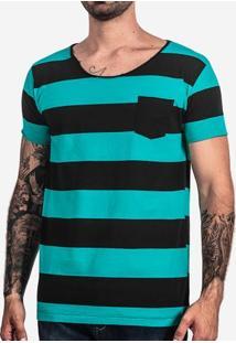 Camiseta Listrada Turquesa Gola Rasgada 101603