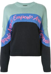 Emporio Armani Suéter Color Block Com Logo Bordado - Azul