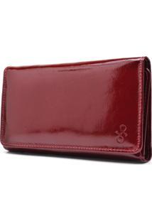 Carteira De Couro Maior Hendy Bag Vermelho Fechado Verniz