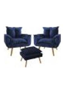 Conjunto 2 Poltronas Decorativas Com Puff Opala Plus Suede Azul Marinho